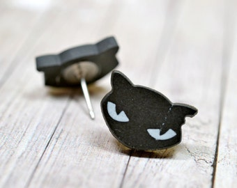 Le Chat Noir Earrings, Black Cat Lovers Jewelry, Paris French Inspired Jewelry, Halloween Holiday Gift Ideas