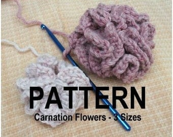 Carnation Flowers Pattern Instructions for 3 sizes INSTANT PDF DOWNLOAD