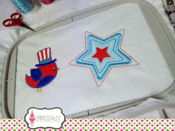 American bird machine embroidery design super cute