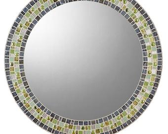 Round Mosaic Mirror - Gray & Green