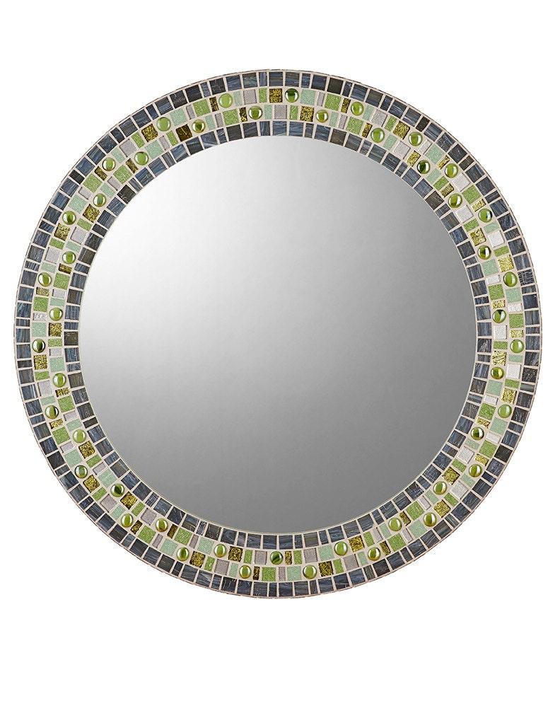 Round mosaic mirror gray green for Mosaic mirror