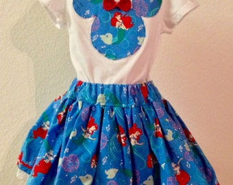 Little Mermaid Minnie Mouse-inspired girls twirly skirt & shirt set perfect for Disney, Disney Cruise, Minnie Mouse Birthday party
