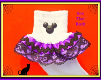 Disney Halloween girls ruffle socks - matching hair bow available - matching outfit available - perfect for Mickey's Semi Spooky Halloween
