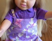 LAVENDER Shimmering JUMPER w/Pink, Yellow, Lime Green, Butterflies & Fireflys w/Purple Short Sleeve Collared BLOUSE for 18 Inch Doll