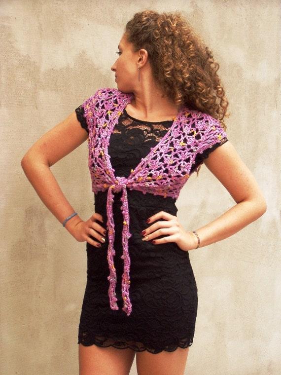 Ochid bolero, orchid bolero vest, orchid pink bolero, crochet bolero, lace bolero vest, sweater bolero vest, sweater vest lace, rustic vest