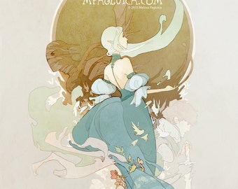 Elf Maiden // an Elegant Fantasy Art Nouveau print