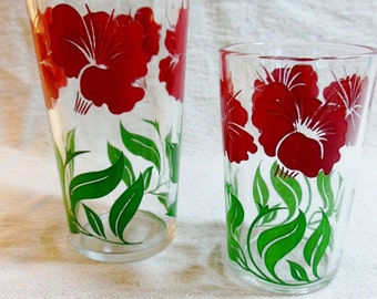 Vintage Red Petunia Drinking Glasses Primary Red & Green Swanky Swig