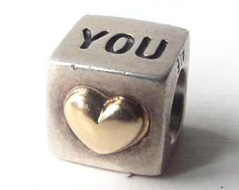 authentic genuine pandora charm 9.25 sterling silver i love you 14k gold heart square bead accessory accessories bracelet romance romantic