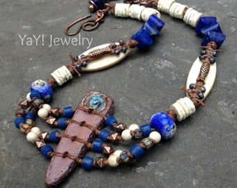 River Queen Necklace, Tribal Necklace, Knotted Necklace, Art Beads, Blue, Lapis, Rustic Earthy Tribal Jewelry by YaY Jewelry