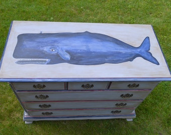Awesome Hand-Painted Vintage Whale Dresser, Nautical/Coastal Decor, Annie Sloan Chalk Paint
