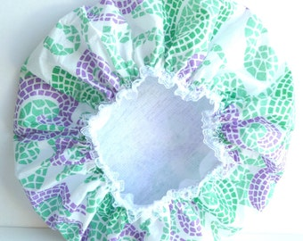 Waterproof Shower Cap Green Purple Spirals Mosaic Spa Heaven Bath Durable Soft Vinyl Cap with Soft Fabric Liner