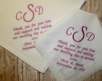 Wedding Thank You Handkerchiefs SET of 2 Embroidered Personalized Hankys