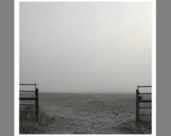 Custom Modern Landscape  Photography Black and White Winter Fog Minimal Modern Landscape
