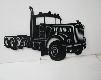 Old Semi Road Tractor with Name Metal Wall Art Silhouette