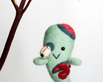Zombie Halloween Needle felted ghost ornament horror character doll