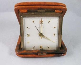 Vintage Swiss Cyma Amic 11 Jewel Travel Alarm Clock Leather Case Instructions Works!