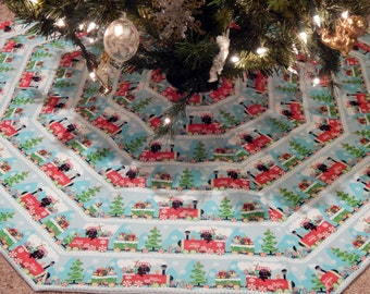 Dachshund Train Octagon Christmas Tree Skirt IN STOCK