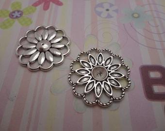 10pcs antique silver flower findings 28mmx28mm