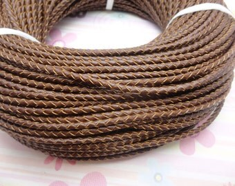 10 meters 3.0mm light brown braid genuine leather cord