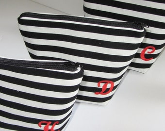 Makeup bag in B&W stripes. bridesmaid gift, optional embroidered initial, travel pouch, cosmetic bag, medium, large and custom sizes