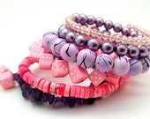 Pink Purple Memory Wire Chunky Womens Beaded Bracelet, Unique Gift Exchange Ideas, Gifts for Her, Girlfriend, Bestie, Lover