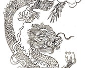 Dragon Year of the Dragon Original Painting for Chinese Zodiac, Game of Thrones, zen decor, japan scroll art, childrens room art, taoist art