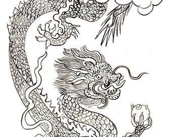 Dragon Year of the Dragon, Original Painting Chinese New Year, tibetan thangka, zen decor, japan scroll art, childrens room art, taoist art