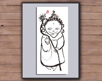 Jizo, Zen Baby Buddha, Jizo Buddha, Original Zen Art Sumi e Ink Painting, zen decor, nursery childrens room art, japanese illustration, tao