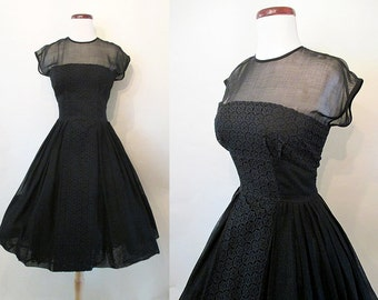 "Charming 1950's Black Sheer Cotton Voile Lace Summer Dress w/ Elusion & Shelf Bust Bodice by ""R  K Originals"" Rockabilly Pinup Size-Medium"