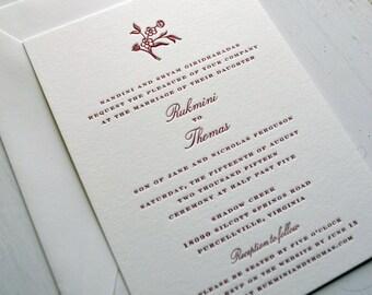 Wedding Invitations - Sweet Flower - JPress Designs, letterpress, classic, elegant, simple, modern, quality, calligraphy, thick card stock