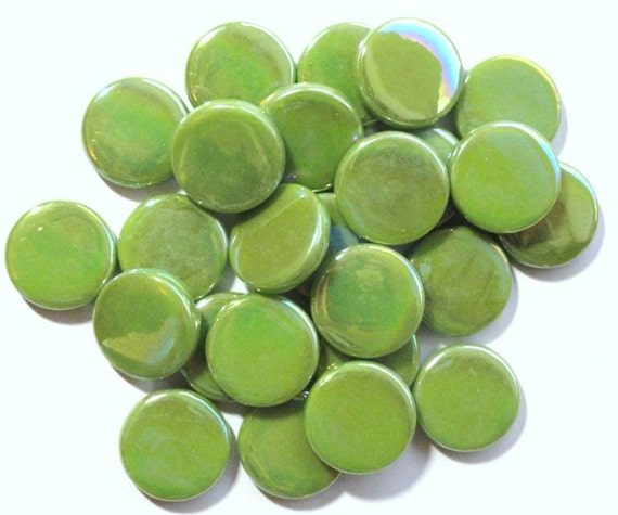 Iridescent Lime Green Raindrop Beaded Curtain: Lime Green Iridescent Flat Penny Round Glass Gems 3/4