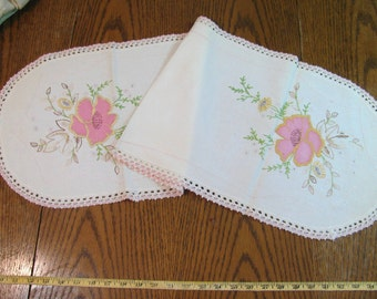 Vintage Hand Embroidery - Crochet - Applique-  Table Runner or Dresser Scarf - Cotton - Good Condition