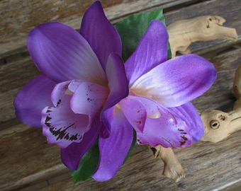 Tropical - Hawaiian Purple Two Orchids with leaves hair flower clip - weddings-