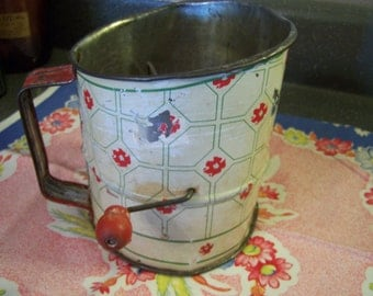 Large Vintage Flour Sifter, Red, Green Ivory, Rustic, Farmhouse Kitchen, 20s 30s, Country Chic