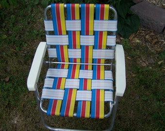 Vintage Child's Lawn Chair, Webbed Aluminum, Red, Blue Yellow