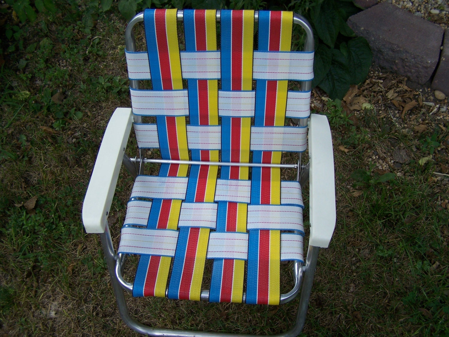vintage child s lawn chair webbed aluminum by