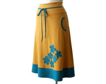 Handmade Jersey Skirt with Applique, Skirt with Pockets, Mustard Yellow Skirt, Turquoise Skirt, Stretchy Skirt, Elastic Waistband Skirt