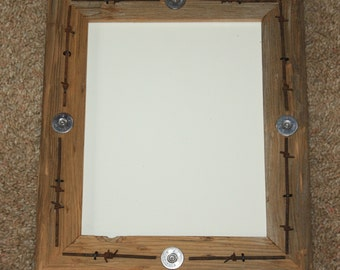 Rustic Wood Picture Frame 8 X 10 Telegraph Pole Cross Bar with Barbed Wire and Shotgun Shells