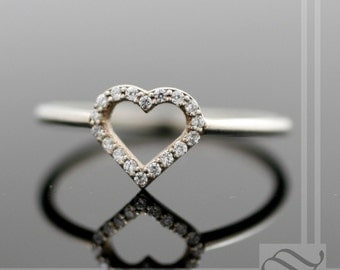 Open Heart Halo Ring - Sterling