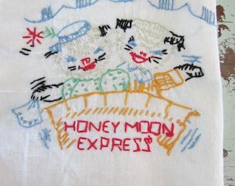 Vintage Embroidered Towel Honeymoon Express Cats on Honeymoon Flour Sack Cloth