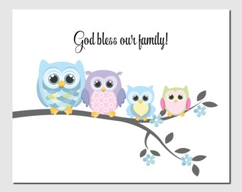 God bless our family, Owls, Pink Blue Green Baby Room Nursery Decor, Kids Wall Art, Children, Owl, Christian Nursery, Art Print