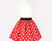 ON SALE !!! Red and White Polkadots Pleated Skirt