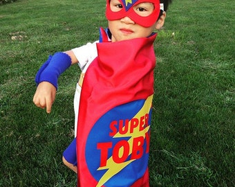 RED and BLUE Super hero Lightning Bolt Cape - PERSONALIZE with your Child's name w/