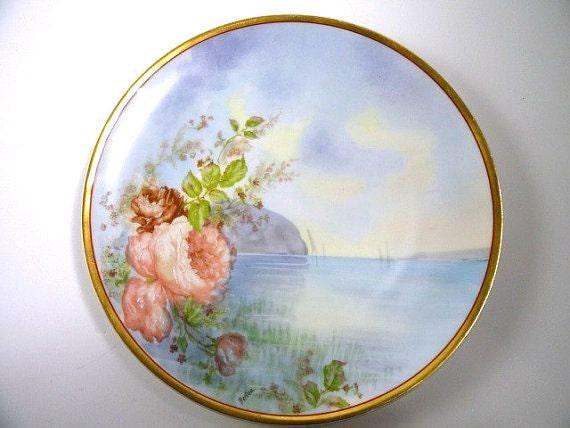 Haviland & Co. Limoges Plate Artist Signed Berton //Antique Porcelain Plate//Vintage China//Vintage Dining