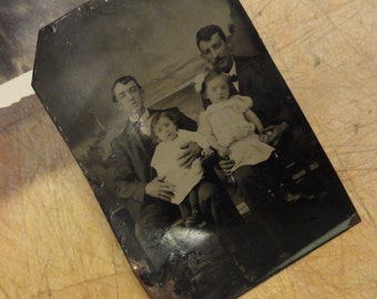 Vintage Tintype Unusual Men and Children Dads and Girls