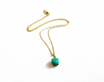 Simple Turquoise Necklace, Minimalist Gold Turquoise Necklace