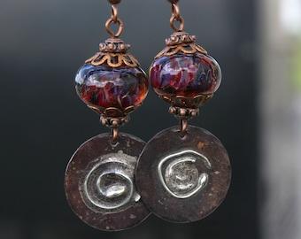 Purple Earrings, Lampwork Glass, Copper