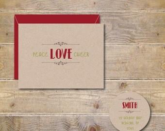 Christmas Cards, Holiday Cards, Handmade, Rustic Christmas, Peace, Love, Joy,  Christmas Card Set, Holiday Greetings, Handmade Christmas