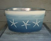 Hand painted bin, Starfish design, nautical, ombre, party tub, storage bin, galvanized metal tub, baby photo prop, gift basket
