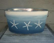 Hand painted bin, Starfish design, nautical, ombre, party tub, storage bin, galvanized metal tub, baby photo prop, gift basket
